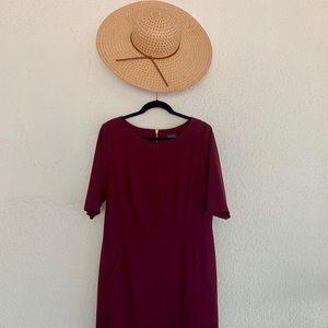 Beautiful plum pocketed shift dress